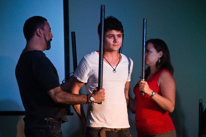 From left, Mauricio Leyton, Arturo Castro and Paola Poucel in the play De Novo. Photo by Joey Castillo.
